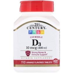 21st Century, Vitamine D3, À croquer, Orange, 100 µg (400 UI), 110 comprimés